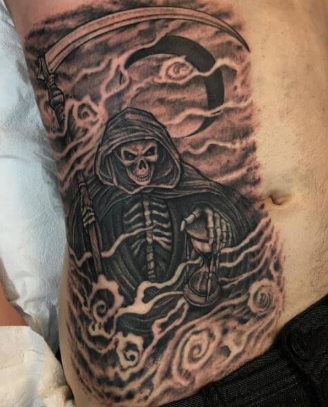 Full Size Grim Reaper Tattoos Design On Ribcage
