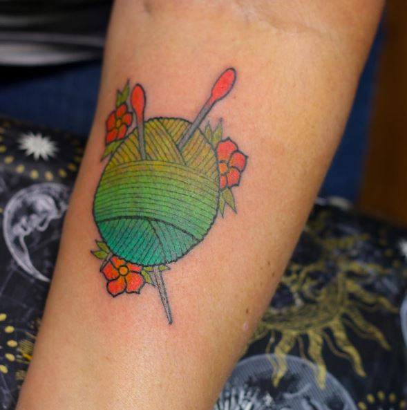 Green Color Knitting Tattoos Design And Ideas
