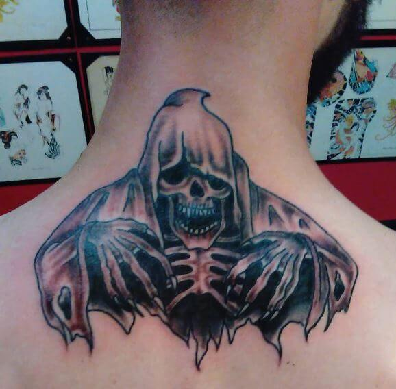 Grim Reaper Tattoos Design On Neck