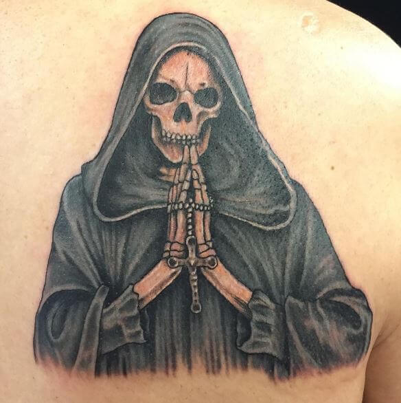Grim Reaper Tattoos Design On Upper Backside