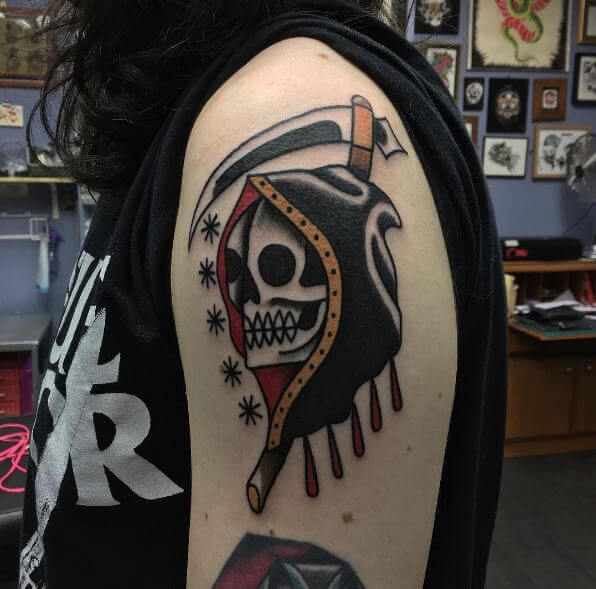 Grim Reaper Tattoos On Biceps