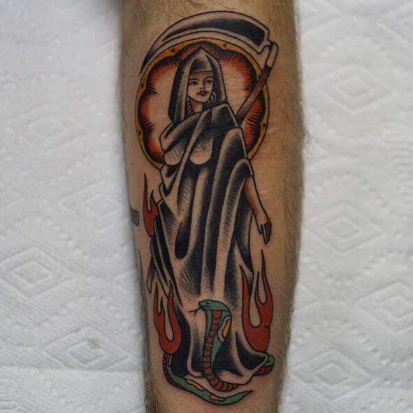 Grim Reaper Tattoos On Forearm