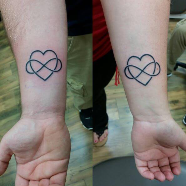 Heart And Infinity Sibling Tattoos Design And Ideas