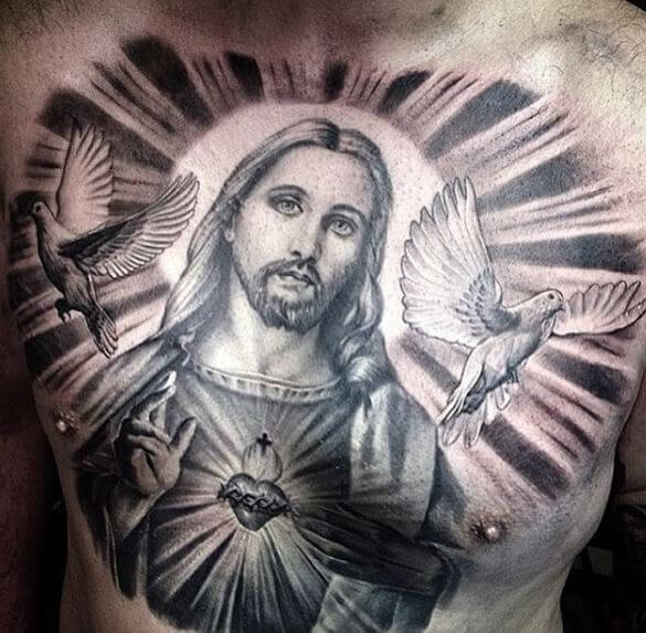 Incredible Jesus Chest Tattoos Design