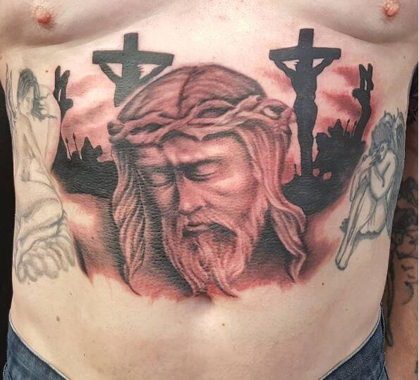 Jesus Christ Tattoos Design On Stomach