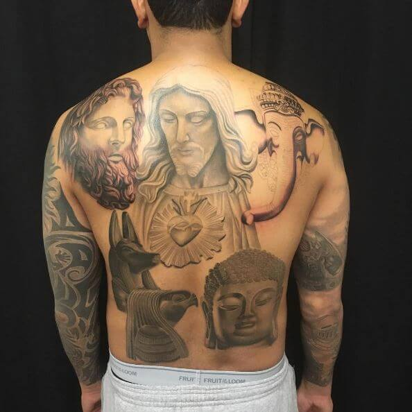 Jesus Tattoos Back Piece