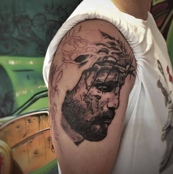 Jesus Tattoos Design Full Arms