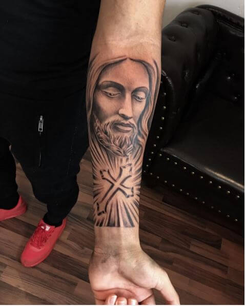 Jesus Tattoos Design On Arms