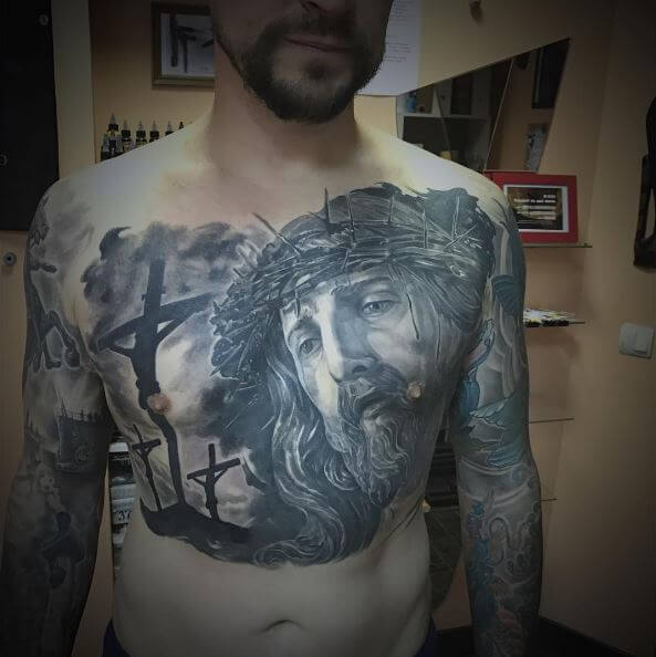 Jesus Tattoos Design On Chest
