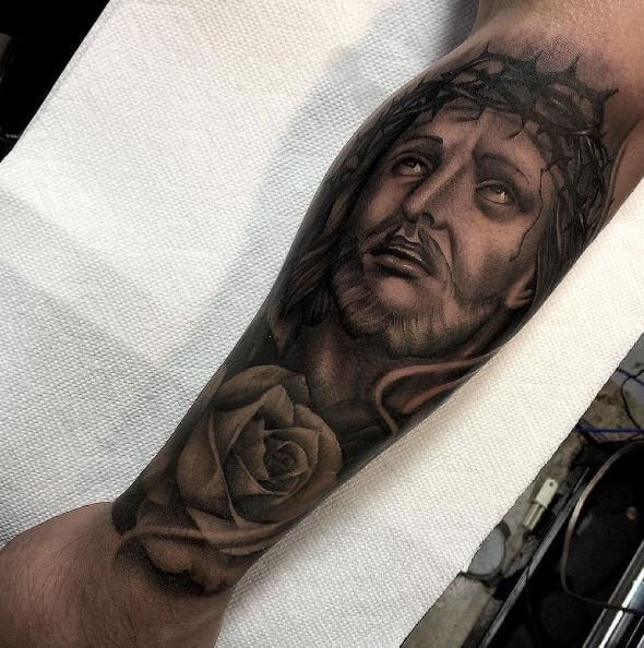 Jesus Tattoos Design On Forearm