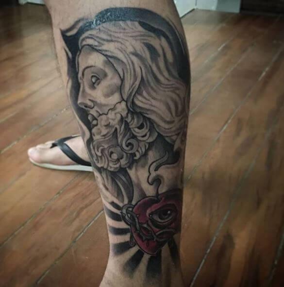 Jesus Tattoos Design On Leg