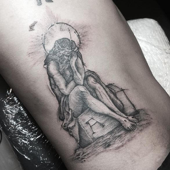 Jesus Tattoos Design On Ribcage
