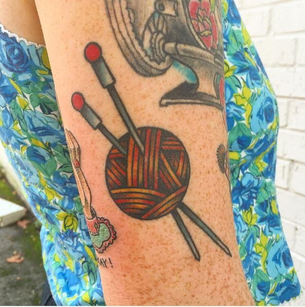 Knitting Tattoos Design For Girls