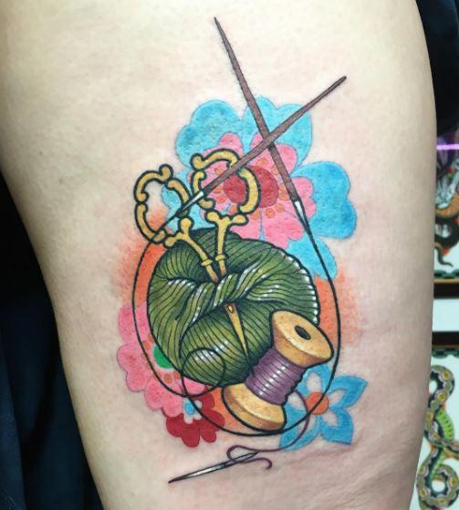 Knitting Tattoos Design On Thigh
