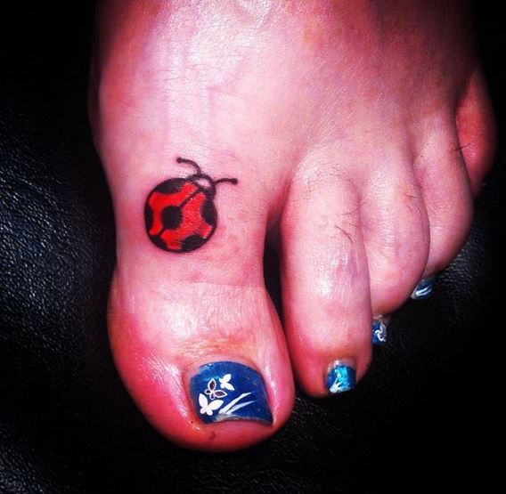 Ladybug Toe Tattoos Design And Ideas