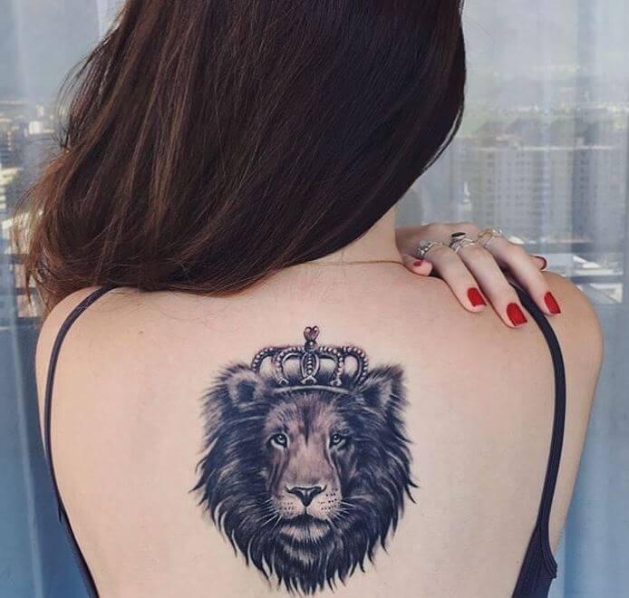 Lion Tattoos Design On Spine