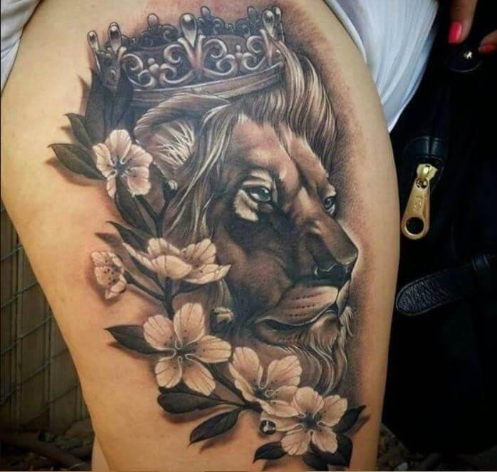 Lion Tattoos On Thigh
