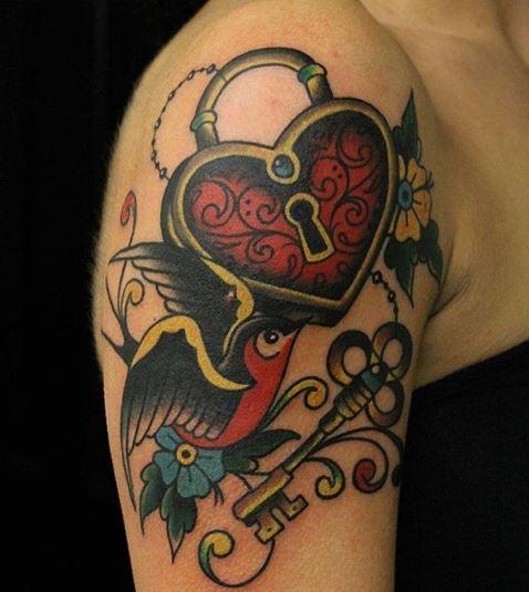 Lock Shoulder Tattoos Design And Ideas
