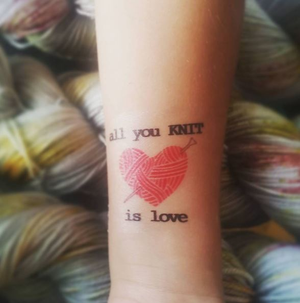 Love Quote With Knitting Tattoos Design