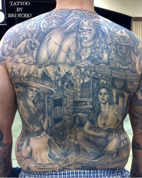 Mexican And Aztec Tattoos Design On Full Back