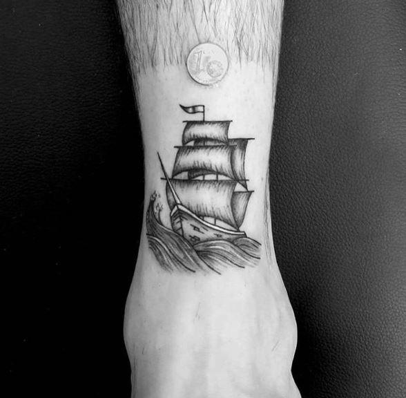 Micro Ship Tattoos Design On Legs