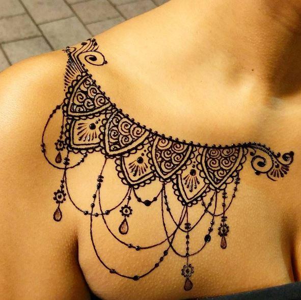 Neckless Tattoos Design On Shoulders