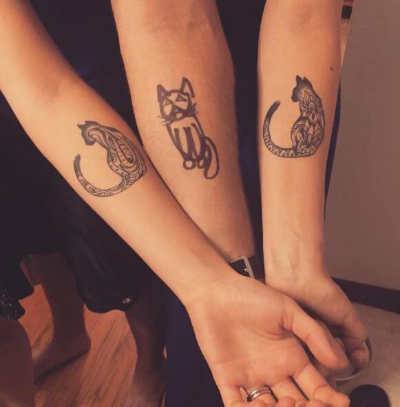Nice Sibling Cat Tattoos Design