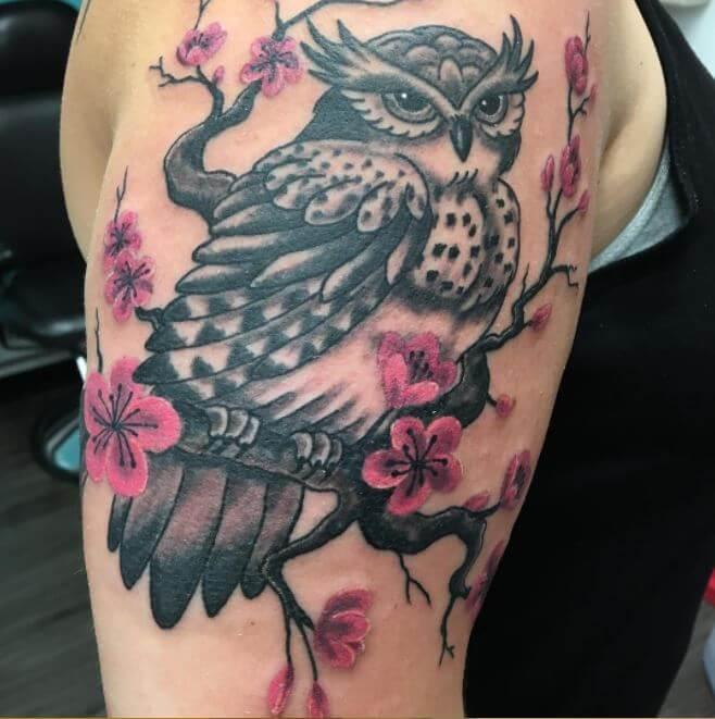 Owl And Cherry Blossom Tattoos