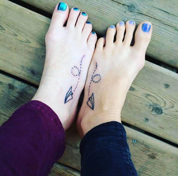Paper Airpale Tattoos Design On Foot