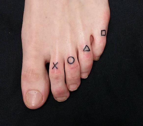 Playstation Toe Tattoos Design And Ideas