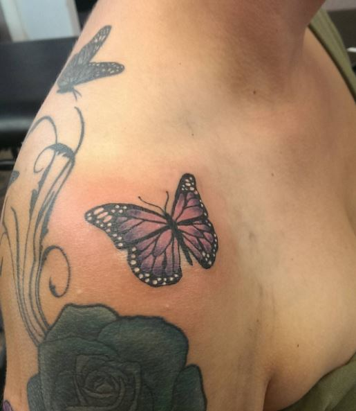 Purple Color Butterfly Tattoos Design For Girls