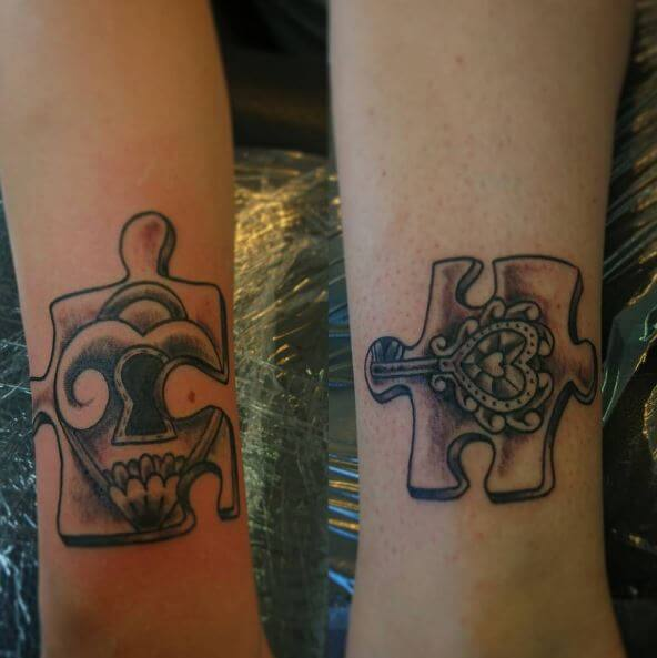 Puzzle Key Matching Tattoos Design And Ideas