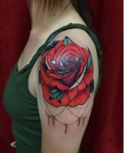Red Rose Shoulder Tattoos Design For Women
