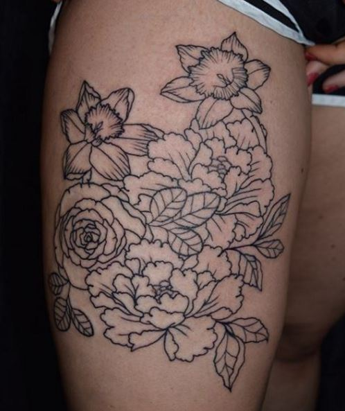 Simple Line Floral Tattoos Design On Thigh