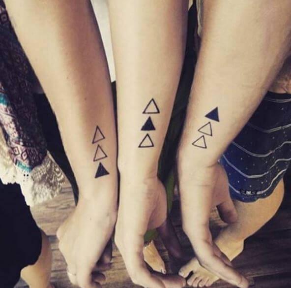Small Trangular Sibling Tattoo Ideas