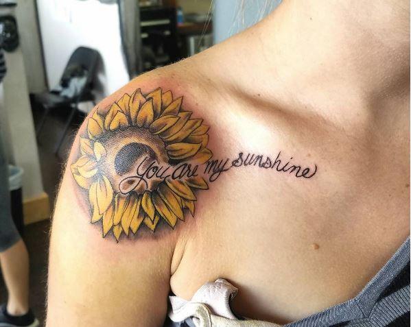Sun Flower Tattoos Design On Shoulder