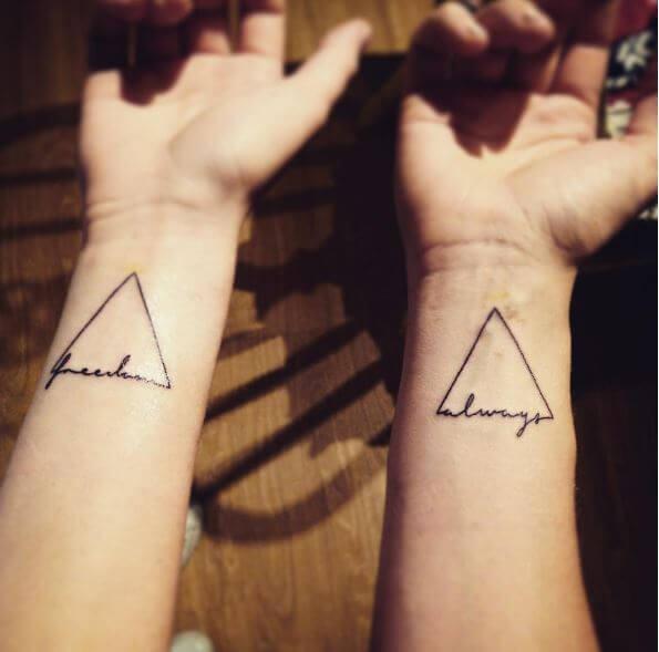 Trangular Matching Tattoos Ideas