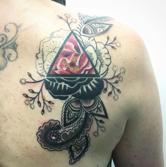 Triangle Tattoos Design On Backside Shoulder