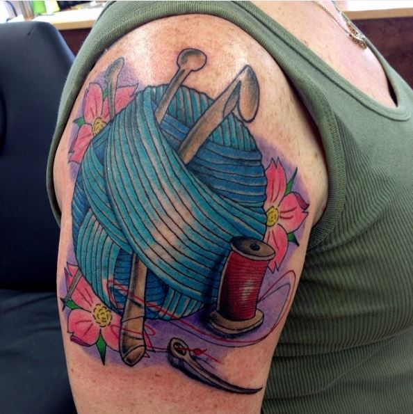 Watercolor Knitting Tattoos Design And Ideas