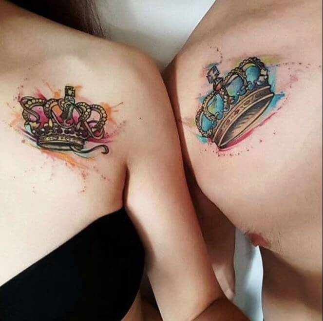 Watercolor Couple Tattoos