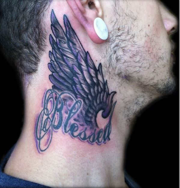Wing Tattoo On Neck