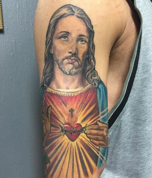 Wonderful Jesus Tattoos Design On Arms