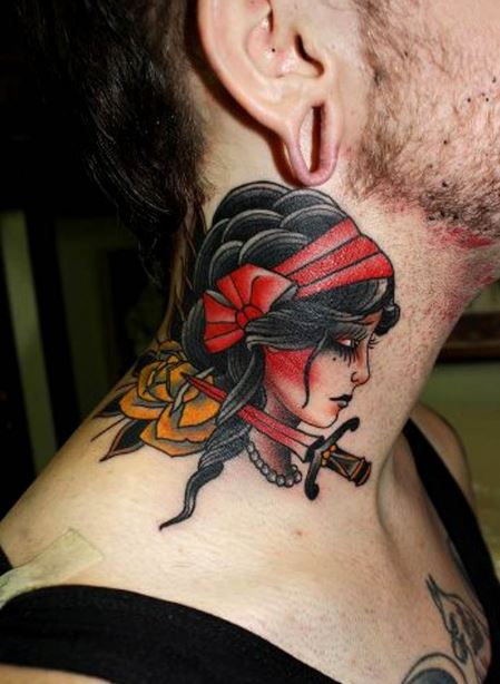 American Traditional Gypsy With Dagger And Yellow Rose Lucretia Possibly Herb Auerbach
