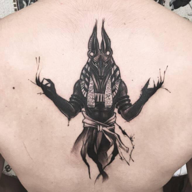 Anubis Back Tattoo