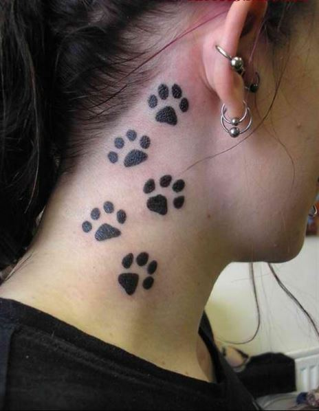 Bear Paw Prints Tattoo Below Ear