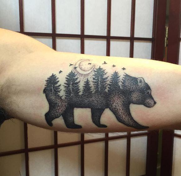 Bear With Tree Tattoos