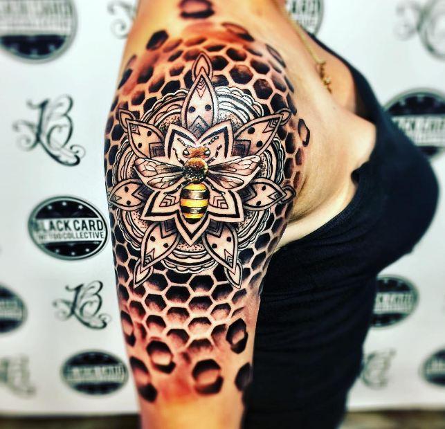 Bee Quarter Sleeve Tattoos