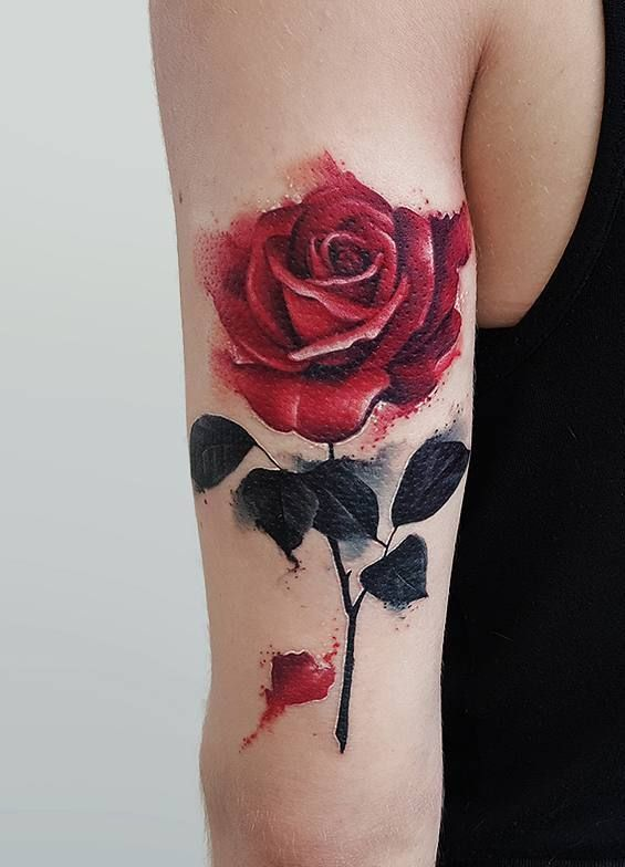 Black And Red Roses Tattoo (4)