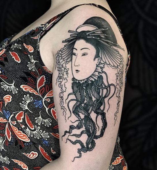 Black Ink Geisha Tattoos