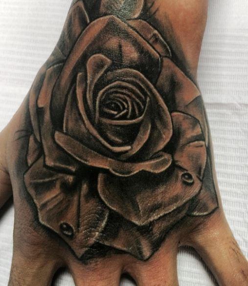 Black Rose Hand Tattoos